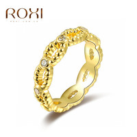 Trendy Roxi 18k Gold Plated Wedding Bands Rings for women engagement party dress Rhinestone lips women finger tail rings anel
