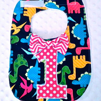 First Birthday Bib with Matching Bow Tie - Baby Boy Birthday Bib Black Red Dinosaurs Polka Dots Chevron