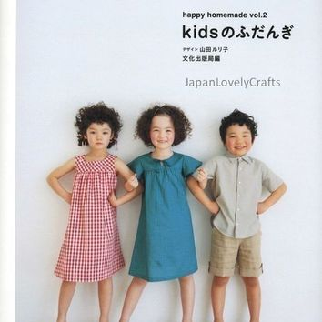 Kids Casual Clothes - Japanese Sewing Pattern Book for Boy, Girl Children Clothing - Ruriko Yamada - Easy Sewing - Dress, Pants, Blouse, B17