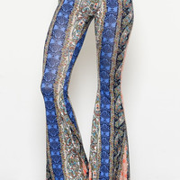 Multi Print Bell Bottom Pants