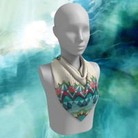 Inverse Mandala Scarf  ~ chiffon scarf - accessories, teal, cream and coral geometric