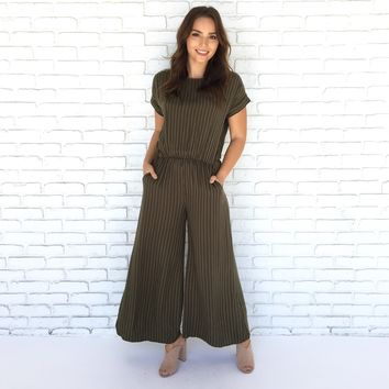 Olive My Love Pin Stripe Jumpsuit