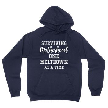 Surviving motherhood one meldoen at a time hoodie