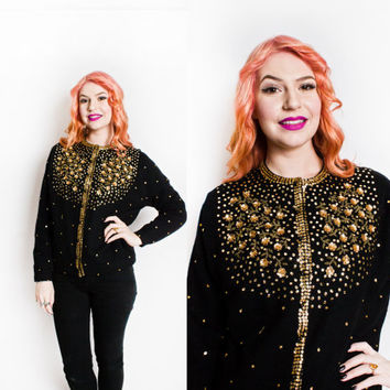 Vintage 1960s Sweater - Black Wool Gold Sequin Beaded Embellished 3-D Cardigan - Large