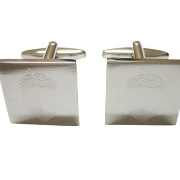 Silver Toned Etched Square Acorn Pendant Cufflinks