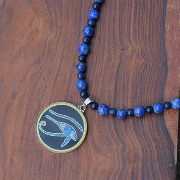 Sacred Geometry Eye of Horus Eye of Ra Necklace Stone Blue Lapis Sodalite Handmade Gemstone Metaphysical Chakra Kynd Vallley
