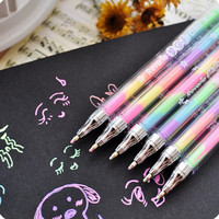 1 piece New Creative Lovely Cute Highlighter Marker Stationary 6 Color Pen Students Ballpen For Children Drop