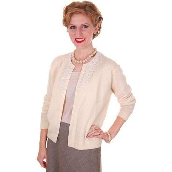Vintage Cream Colored Wool/Angora Beaded Cardigan Sweater 1950s Lg