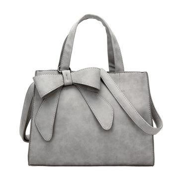 Natural leather shoulder bag / tote  large capacity with bow accent