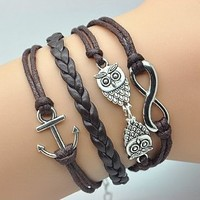 Plating Retro Silver Cute Owl & Infinity Wish Anchor Bracelet Brown Rope Braided Personalized Bracelet Friendship Gift 1189r