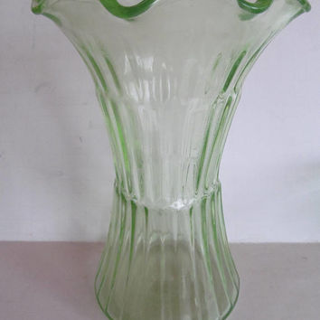 Large Art Deco Vase Wedding Floral Arrangement Vase Green Depression Glass Vase  Flower Vase Flower Bouquet Vase Large Floral Vase