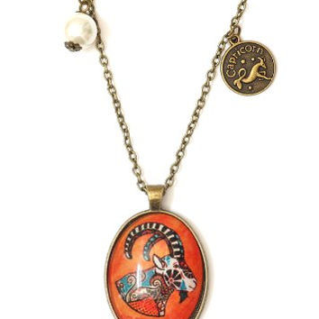 Capricorn Oval Necklace Antique Zodiac NG41 Faux Pearl Goat Pendant Astrology Charm Horoscope