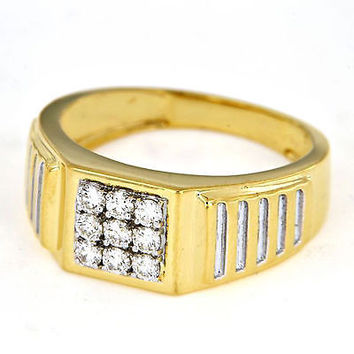 Two Tone Gold Over .925 Sterling White Diamond Engagement Wedding Ring For Men's