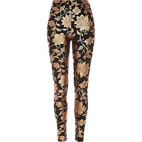 River Island Womens Black floral foil print leggings