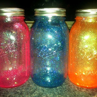 Glitter Glass Mason Jars  3 Pack by GlitterPerfection on Etsy