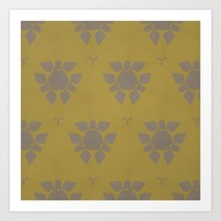 Gold and Lilac Art Print by Rebecca's Fabric Designs