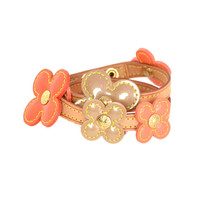 LOUIS VUITTON Orange Vernis Flower Wrap Bracelet