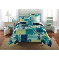 Mainstays Bed-in-a-Bag Bedding Comforter Set, Teal Patch - Walmart.com