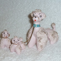 Vintage 1950s Lipper Mann Pink Spaghetti Poodles Mom Puppies Chained Turquoise Collar Mid-Century Modern