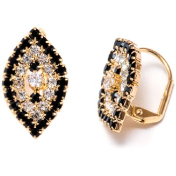 18K Gold Plated Black and White Swarovski Elements Oval Huggie Earrings