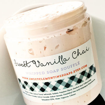 Sweet Vanilla Chai Whipped Soap Souffle - Shaving Soap - Bath Whip - Shaving Cream
