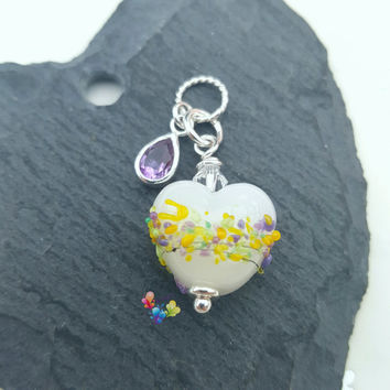 Crocus Heart Charm Pendant, Necklace, Sterling Silver Necklace, Lampwork Jewellery, Gift for Her, Green Purple, Yellow, Valentine