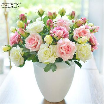 5pcs/lot Vivid Real Touch Rose Colourful High Quality Artificial Silk Flower For Wedding Party Decoration 2 heads/bouquet