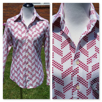 Vintage 70s Shirt, Wide Pointed Collar, Polyester, Burgundy Dots on White, Geometric Design, Button down, Prince Rinaldi, Brady Bunch style