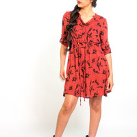 Tunic Dress in Terra Cotta & Black Hibiscus Flower