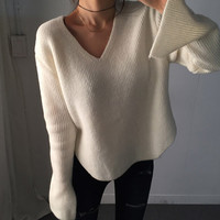 V Neck Slitting Long Sleeve Sweater
