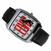 Elvis Presley on a Mens or Womens Silver Square Watch with Leather Band