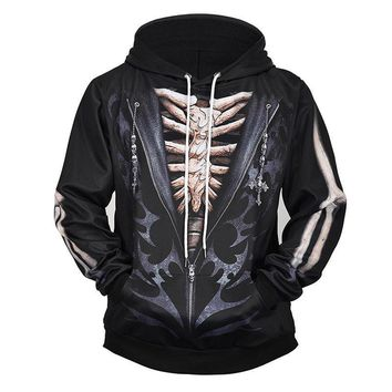 3D Print Hoodies Large Size Loose Skull Hoodie Black Men's Clothing
