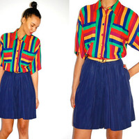 Vtg 80s Color Block Striped Button Down Romper by LuluTresors