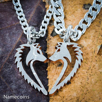Wolf necklaces, Couples Wolves hand cut coin
