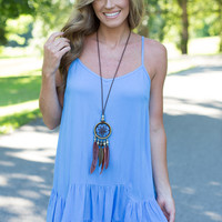 Cloudy Day Tiered Dress - Blue