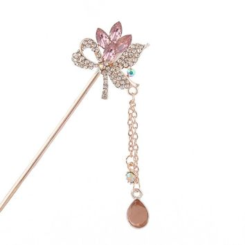 Rhinestones Flowers Thin Hair Sticks Pins Tassels Chain Hairpins 3aa5dd71f