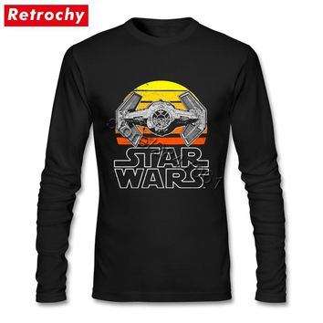 2017 T-Shirt Star Wars Vintage Fighter for Men Black Long Sleeved Personality Shirt Gift  Party Big Tall Fan Apparel