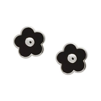 Black Onyx Flower Stud Earrings in Sterling Silver