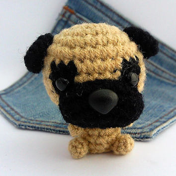 Amigurumi Pug, crochet Dog! Pug plushie. Crochet Pug..Stocking stuffer.