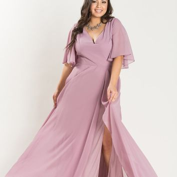 Plus Camila Mauve-Purple Flowy Maxi Dress