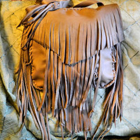 Light Taupe Leather Purse Fringed by LeatherCrafted on Etsy