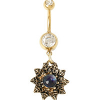14G Steel Gold Mood Flower Navel Barbell