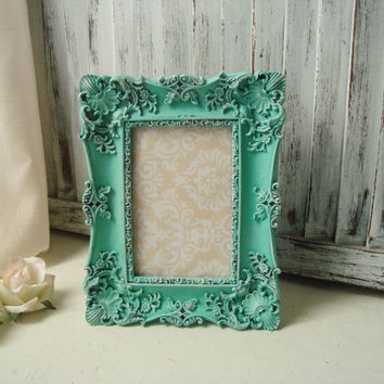 Teal Ornate 4 x 6 Picture Frame, Wedding Table Number Frame, Aqua Distressed Vintage Style Frame, Nursery Frame, Shabby Chic Frame