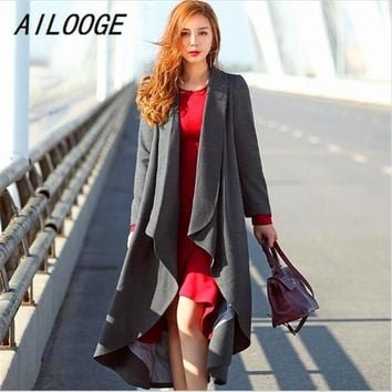 AILOOGE New Fashion Autumn Winter Women's Mid Long Trench Coat