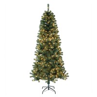 St. Nicholas Square 7-ft. Slim Noble Pine Pre-Lit Artificial Christmas Tree - Indoor