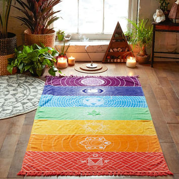 Seven Chakra Beach Throw Tapestry