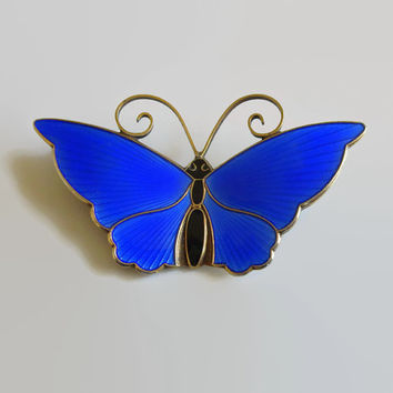 "Cobalt Blue Enamel Butterfly Pin, David-Andersen, Norway Sterling, Vintage, Mid Century, Blue Basse-Taille Brooch, Large, 2 1/8"" x 1 1/4"""