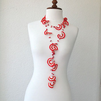 crocheted scarf, flower necklace