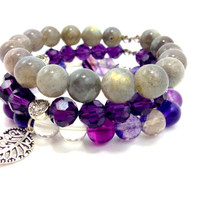 "Gemstone Yoga Stack, The ""Enlightened Transformation"" Stack, Labradorite, Flourite, Crystal, Handmade Gemstone Bracelets, Bracelet Stack, Pu"