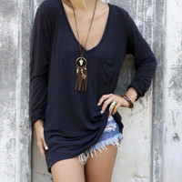Late Lunch Light Acid Wash Navy Long Sleeve V-Neck Top With Front Pocket